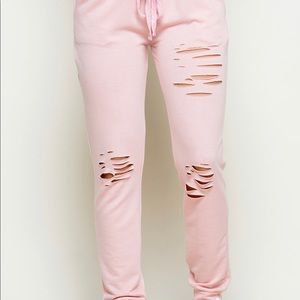 Pants - 💥NEW💥 Pink Distressed French Terry Jogger